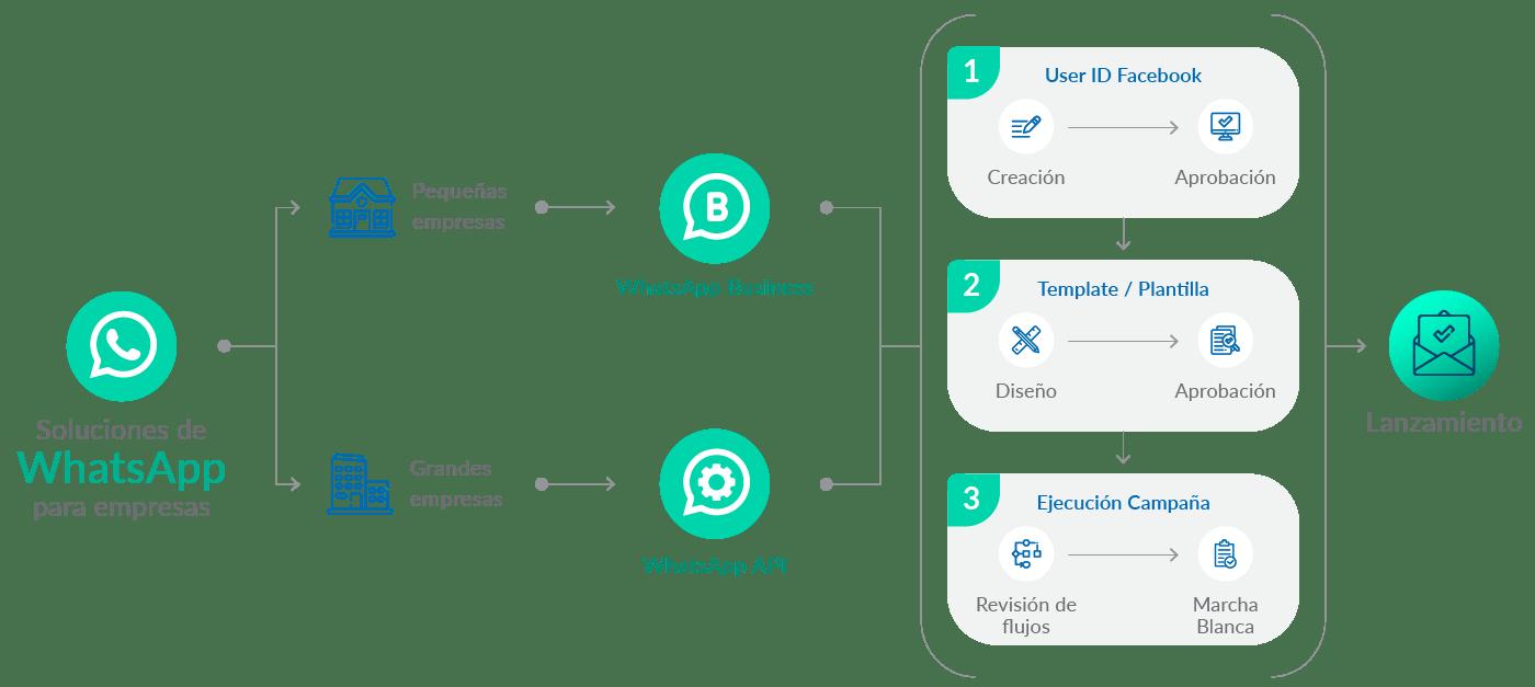 Proceso habilitación WhatsApp ver descripción
